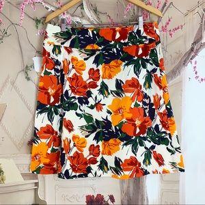 Oscar De Le Renta Multi Color Floral Skirt